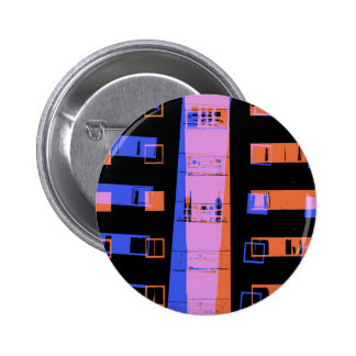 City apartment building at night pinback button