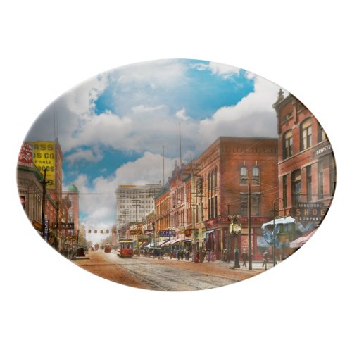 City - Arkansas - Main St 1925 Porcelain Serving Platter