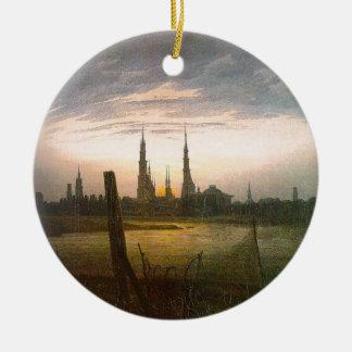 City at Moonrise by Caspar David Friedrich Ceramic Ornament