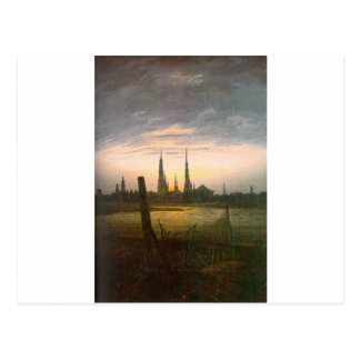 City at Moonrise by Caspar David Friedrich Postcard