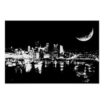 Art Themed City At Night Moon light black and white Art Poster