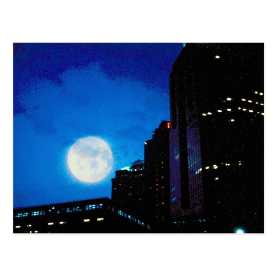 City at night with moon postcard