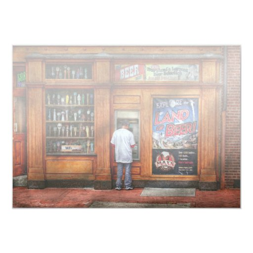 City - Baltimore MD - Explore the land of beer 5x7 Paper Invitation Card