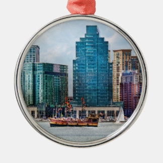 City - Baltimore MD - Harbor east Round Metal Christmas Ornament