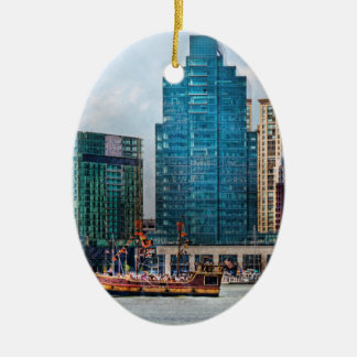 City - Baltimore MD - Harbor east Double-Sided Oval Ceramic Christmas Ornament