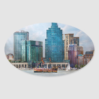 City - Baltimore MD - Harbor east Oval Sticker