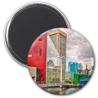 City - Baltimore MD - Harbor Place - Future City 2 Inch Round Magnet