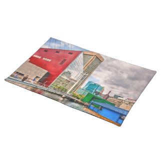 City - Baltimore MD - Harbor Place - Future City Cloth Placemat