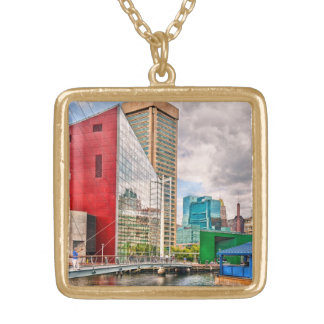 City - Baltimore MD - Harbor Place - Future City Gold Plated Necklace