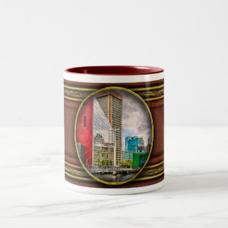 City - Baltimore MD - Harbor Place - Future City Two-Tone Coffee Mug