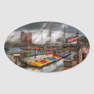 City - Baltimore MD - Modern Maryland Oval Sticker