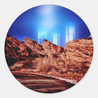 City Beyond The Rocks Classic Round Sticker