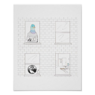 City Bird -- Caffeinated Pigeon Poster (11 x 14)