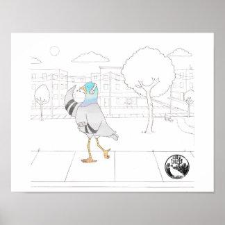 City Bird -- Musical Pigeon Poster (11 x 14)