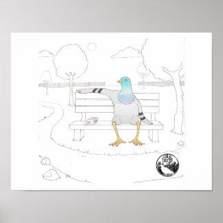 City Bird -- Park Pigeon Poster (11 x 14)