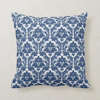 City Blue Damask pattern Throw Pillow