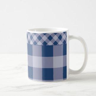 City Blue Gingham Coffee Mug