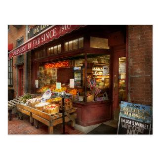 City - Boston Ma - Fresh meats and Fruit Postcard