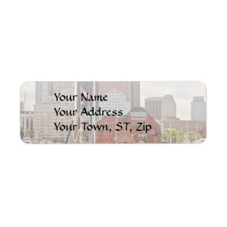 City - Boston Ma - Harbor walk skyline Label