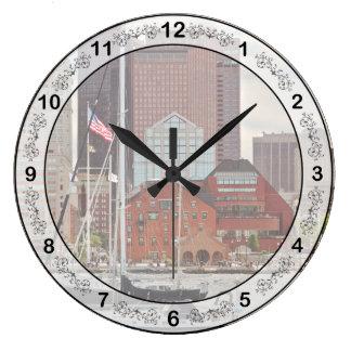 City - Boston Ma - Harbor walk skyline Large Clock