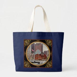 City - Boston Ma - Harbor walk skyline Large Tote Bag