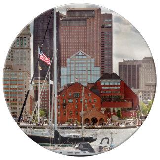 City - Boston Ma - Harbor walk skyline Plate