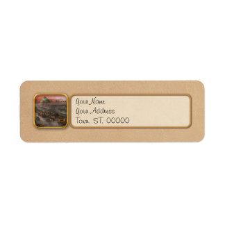 City - Boston Mass - Morning at the farmers market Return Address Label