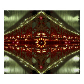 City Bridge Lights Abstract Poster Print