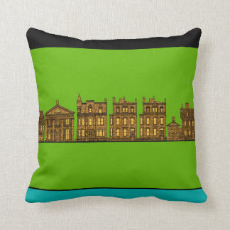 City Brownstones with Lights in the Windows Throw Pillow