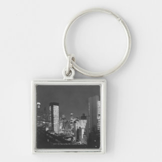 City buildings at night B&W, elevated view Keychain