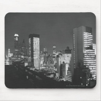 City buildings at night B&W, elevated view Mouse Pad