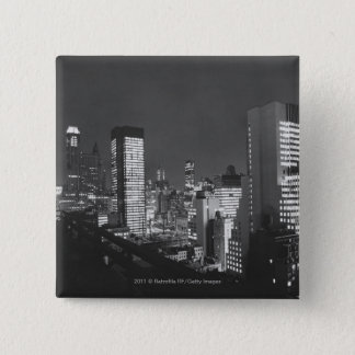 City buildings at night B&W, elevated view Pinback Button