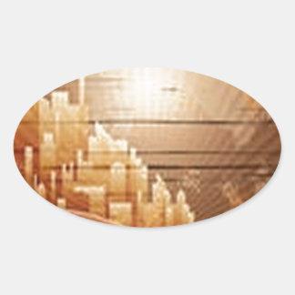 City buildings design oval sticker