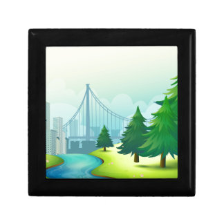 City buildings view with nature gift box