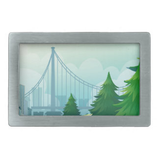 City buildings view with nature rectangular belt buckle