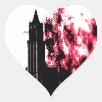 City Burning Heart Sticker