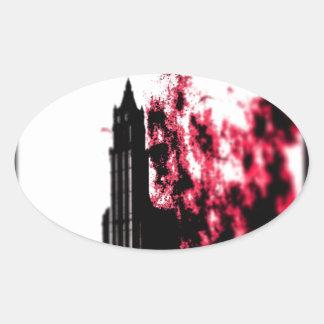 City Burning Oval Sticker