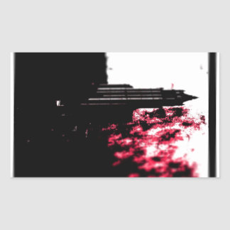 City Burning Rectangular Sticker