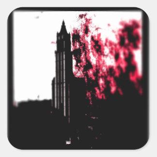 City Burning Square Sticker