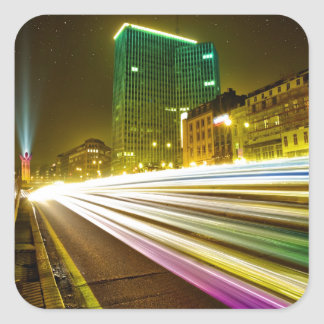 City by Night - Long Exposure Square Sticker