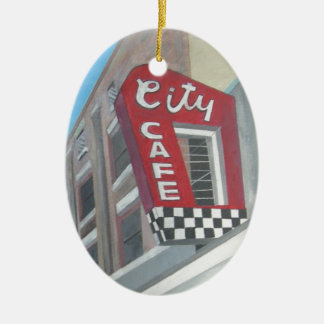 City Cafe Double-Sided Oval Ceramic Christmas Ornament