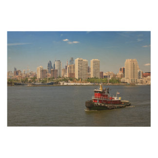 City - Camden, NJ - The city of Philadelphia Wood Wall Art