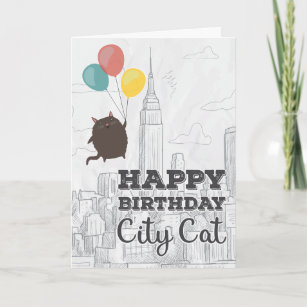 City Cat New York Birthday Card