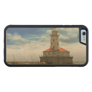 City - Chicago IL - Chicago harbor lighthouse Carved Maple iPhone 6 Bumper Case