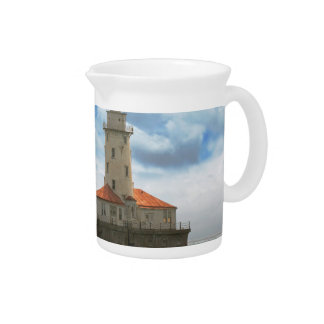 City - Chicago IL - Chicago harbor lighthouse Drink Pitcher
