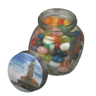 City - Chicago IL - Chicago harbor lighthouse Glass Candy Jars