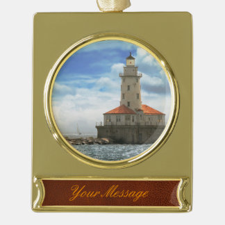 City - Chicago IL - Chicago harbor lighthouse Gold Plated Banner Ornament