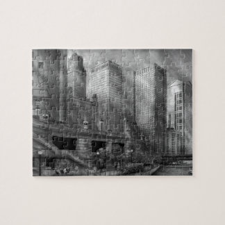 City - Chicago IL - Continuing a Legacy BW Jigsaw Puzzle