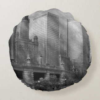 City - Chicago IL - Continuing a Legacy BW Round Pillow
