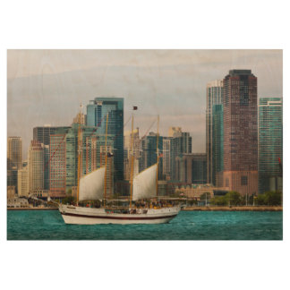 City - Chicago Il - Cruising in Chicago Wood Poster